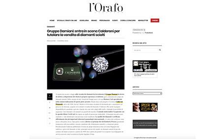 """""""Gruppo Damiani: entra in scena Calderoni per tutelare la vendita di diamanti sciolti"""". L'Orafo Italiano"""