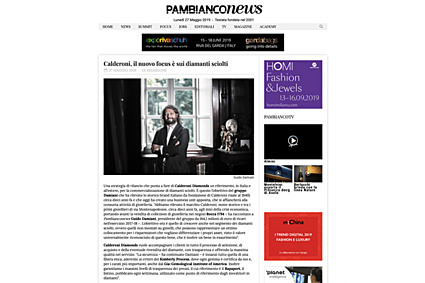 """""""Calderoni: il nuovo focus è sui diamanti sciolti"""". Pambianco News"""